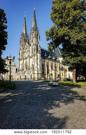 Olomouc, Czech Republic - June 26, 2016: St. Wenceslas Cathedral in Olomouc