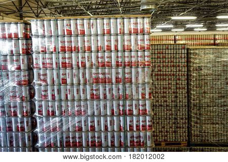 CESKE BUDEJOVICE, CZECH REPUBLIC - JUNE 30, 2016:  Budvar Budweiser brewery. Warehouse with finished products.