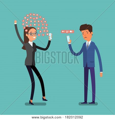 Social media marketing concept. Happy business woman and sad business man check their accounts