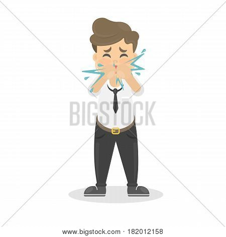 Buisnessman with cold. Sick man is ill. Isolated character on whte. Sneezing or coughing man.