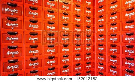 Ceske Budejovice Czech Republic - June 30 2016: Budvar Budweiser brewery. Wall of beer crates.