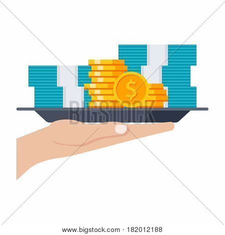 Grant concept with money on the tray, vector illustration in flat style