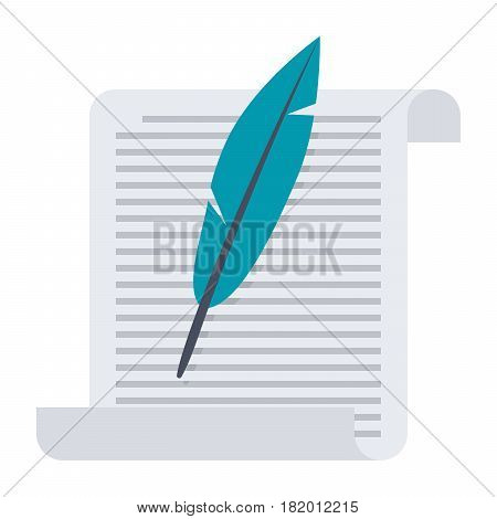 History concept with paper and feather, vector illustration in flat style
