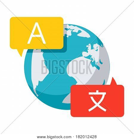 Language translation concept with speech bubble and globe, Linguistics icon, vector illustration in flat style