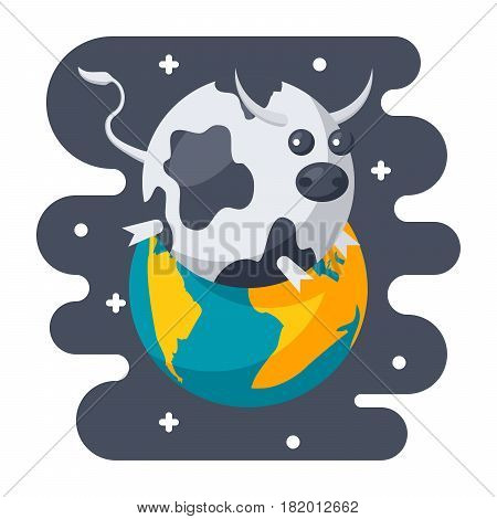 Parody science concept with spherical cow in a vacuum, scientific humor, vector illustration in flat style