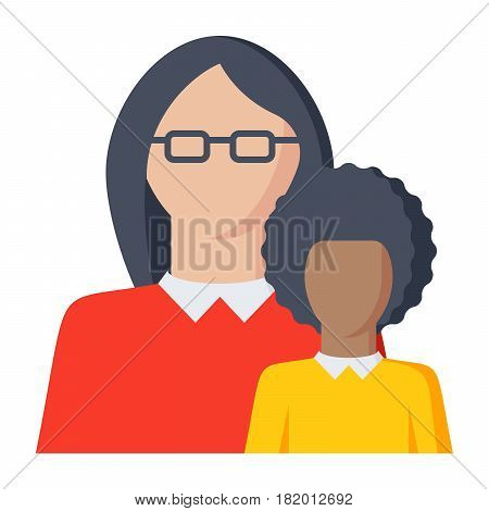 Pedagogy concept with teacher and kid, vector illustration in flat style
