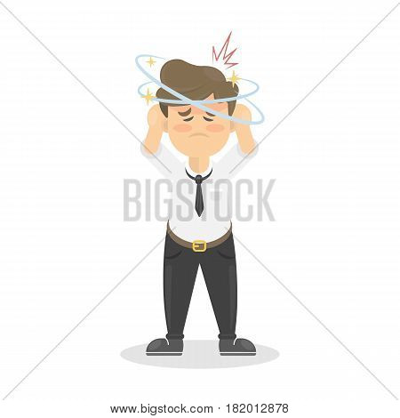 Businessman with headache. Sick man is ill. Isolated character on whte.