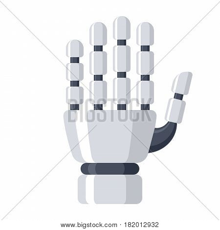 Robotic mechanical arm, prosthetic hand, vector illustration in flat style