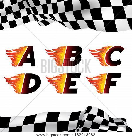 Fire and high associated speed font, letters A, B, C, D, E, F. Typeface symbols for logo on checkered background