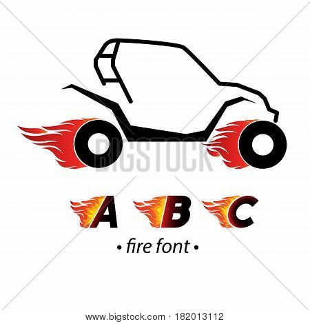 Fire and high associated speed letters A, B and C,  typeface symbols for logo. Part of collection.