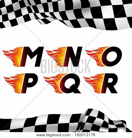 Fire and high associated speed font, letters M, N, O, P, Q, R. Typeface symbols for logo on checkered background