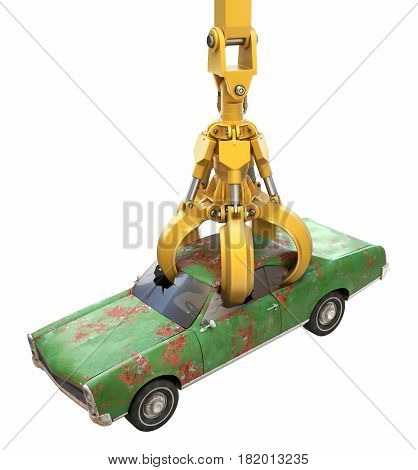Industrial mechanical claw for junk yard with old car - 3D illustration