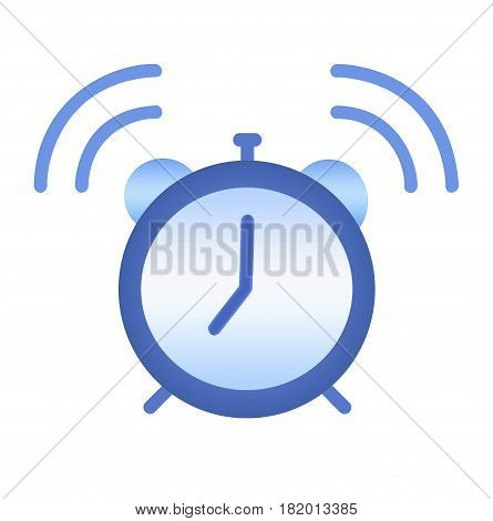 Illustration of an isolated over white background blue alarm clock ringing at 7 o'clock