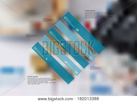 Illustration infographic template with motif of rhombus askew divided to five standalone blue sections. Blurred photo with financial motif with charts coins and calculator is used as background.