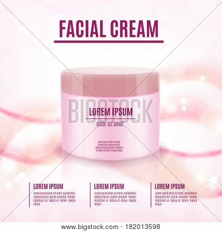 Cosmetic product poster. Cosmetic ads template. Skin care cosmetic cream. Vector illustration for cosmetic ads or magazine. EPS10