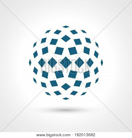 Abstract circular shape. Rectangular elements. Contains transparent objects.