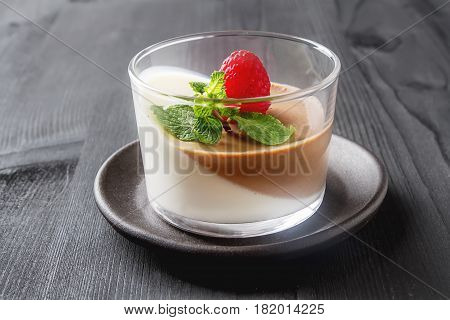 Italian Dessert. Chocolate And Vanilla Panna Cotta With Mint And