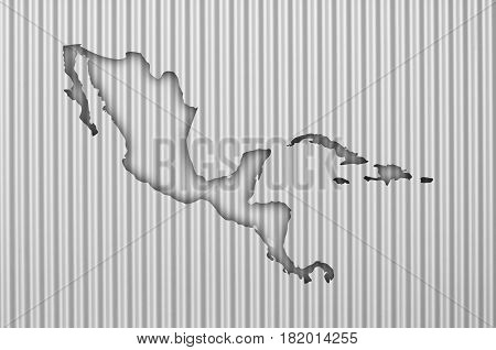 Map Of Middle America On Corrugated Iron