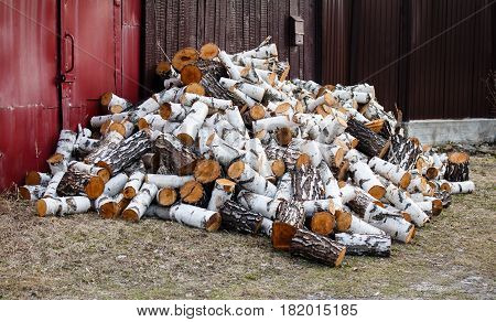 Countryside. The big pile of firewood Birch