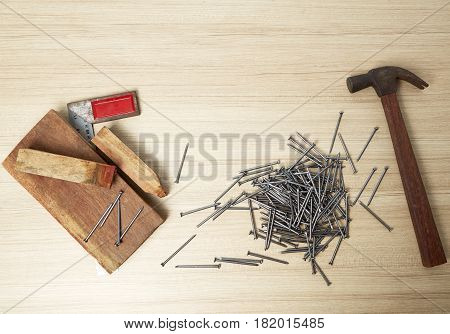 Hammer and nails on wood background repair, craft, nail, equipment