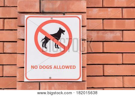 No dogs allowed sign prohibiting any pets walking