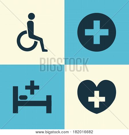 Drug Icons Set. Collection Of Tent, Heal, Plus And Other Elements. Also Includes Symbols Such As Handicapped, Heart, Heal.