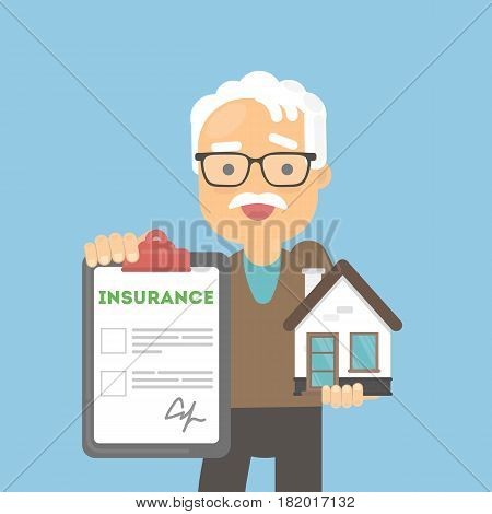 Old man shows house insurance. Real estate safety and saving. Smiling senior holds house.