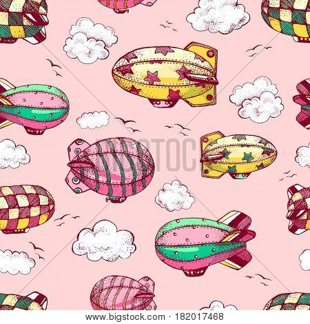 Hand drawn vector vintage seamless pattern with cute little air ships with strips, stars, dots and squares in the sky. Zeppelin, birds and clouds.