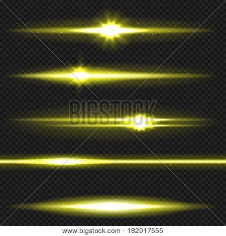 Orange horizontal lens flares pack. Laser beams, horizontal light rays. Vector, eps10