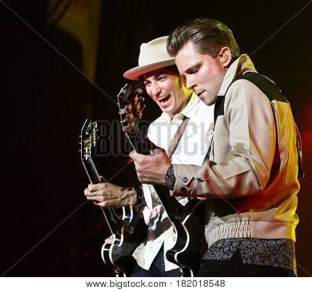HUNTINGTON, NY-APR 15: Country music artist Frankie Ballard (R) performs onstage at the Paramount on April 15, 2017 in Huntington, New York.