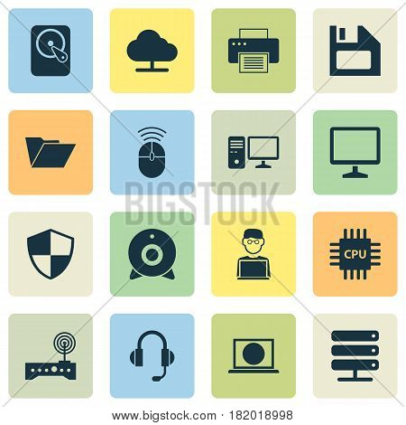Notebook Icons Set. Collection Of Printing Machine, Hdd, Tree And Other Elements. Also Includes Symbols Such As Modem, Camera, Microprocessor.