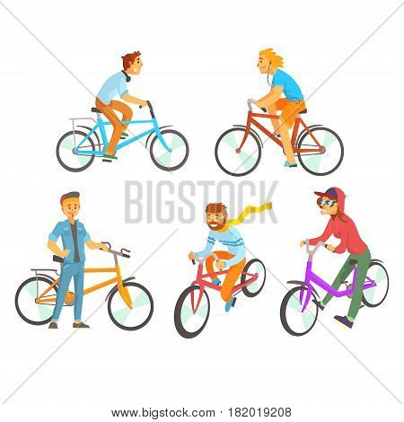 Cyclists riding bike set for label design. Lifestyle, sport, cycling, riding, relax. Colorful cartoon detailed Illustrations isolated on white background