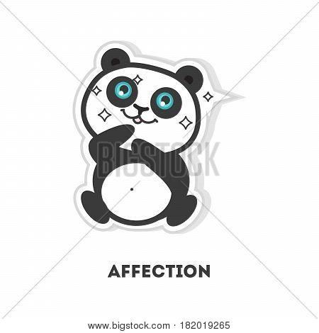 Affection panda sticker. Isolated cartoon emoji on white background.