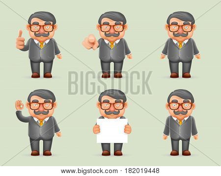 Businessman Different Actions Man Mustache Geek Hipster Realistic Cartoon Character Design Isolated Vector Illustration