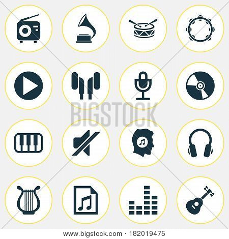 Audio Icons Set. Collection Of Meloman, Octave, Lyre And Other Elements. Also Includes Symbols Such As Controlling, Gramophone, Mute.