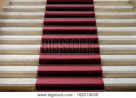 ZAGREB, CROATIA - APRIL 13: Entrance stairway of the Croatian Academy of Sciences and Arts in Zagreb, on April 13, 2016.