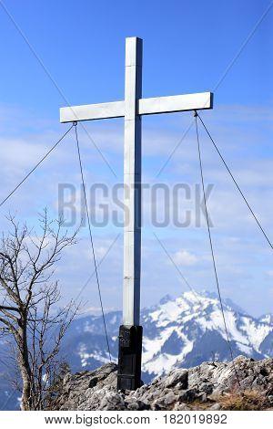 mountain cross on a bavarian mountain top