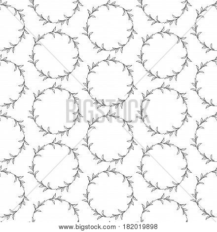 Vector Black Decorative Seamless Backdround Pattern with Drawn Circles with Herbs, Plants, Branches. Doodle Style Greenery, Lush Foliage, Foliate. Vector Illustration. Pattern Swatch