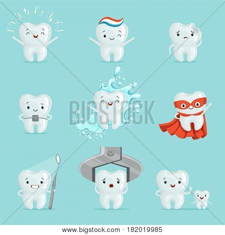 Cute teeth with different emotions set for label design. Dental medicine, children dentistry, mouth hygiene. Cartoon detailed Illustrations isolated on white background
