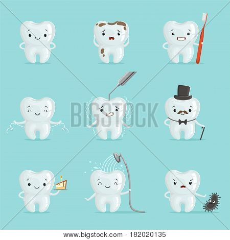 White teeth with different emotions set for label design. Dental medicine, children dentistry, mouth hygiene. Cartoon detailed Illustrations isolated on white background