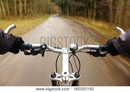 dynamic view from a bike to the road