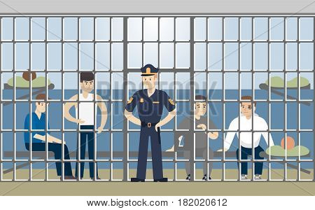 Jail in police building. Guilty people in cell.