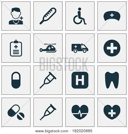 Drug Icons Set. Collection Of Copter, Rhythm, Plus And Other Elements. Also Includes Symbols Such As Sign, Ambulance, Temperature.