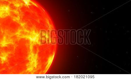 The Burning Sun In Space Among The Stars Copy Space