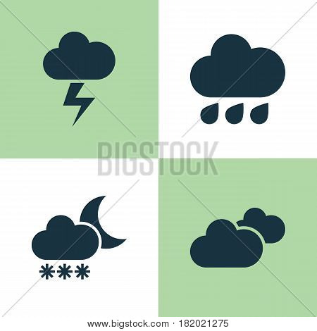 Meteorology Icons Set. Collection Of Rainy, Lightning, Night And Other Elements. Also Includes Symbols Such As Lightning, Weather, Clouds.