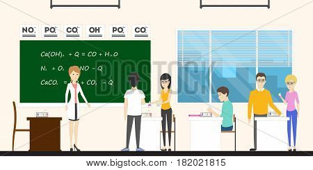 Chemistry in school. Pupils in lab with teacher.