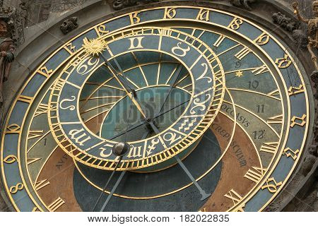 Photo shows detailed view of Old Town Hall Tower Prague astronomical clock during a day.