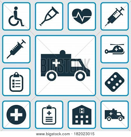Medicine Icons Set. Collection Of Bus, Retreat, Mark And Other Elements. Also Includes Symbols Such As Capsule, Syringe, Record.
