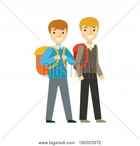 Two Boys Walking To School Together, Part Of School And Scholar Life Series Of Minimalistic Illustrations. Education And Young Students Vector Primitive Drawing With Smiling Characters.