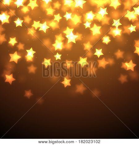 Shiny bright stars falling on dark background